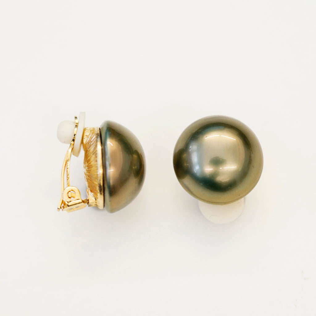 Goldtone 18mm Brown Pearl Button Clip Earrings