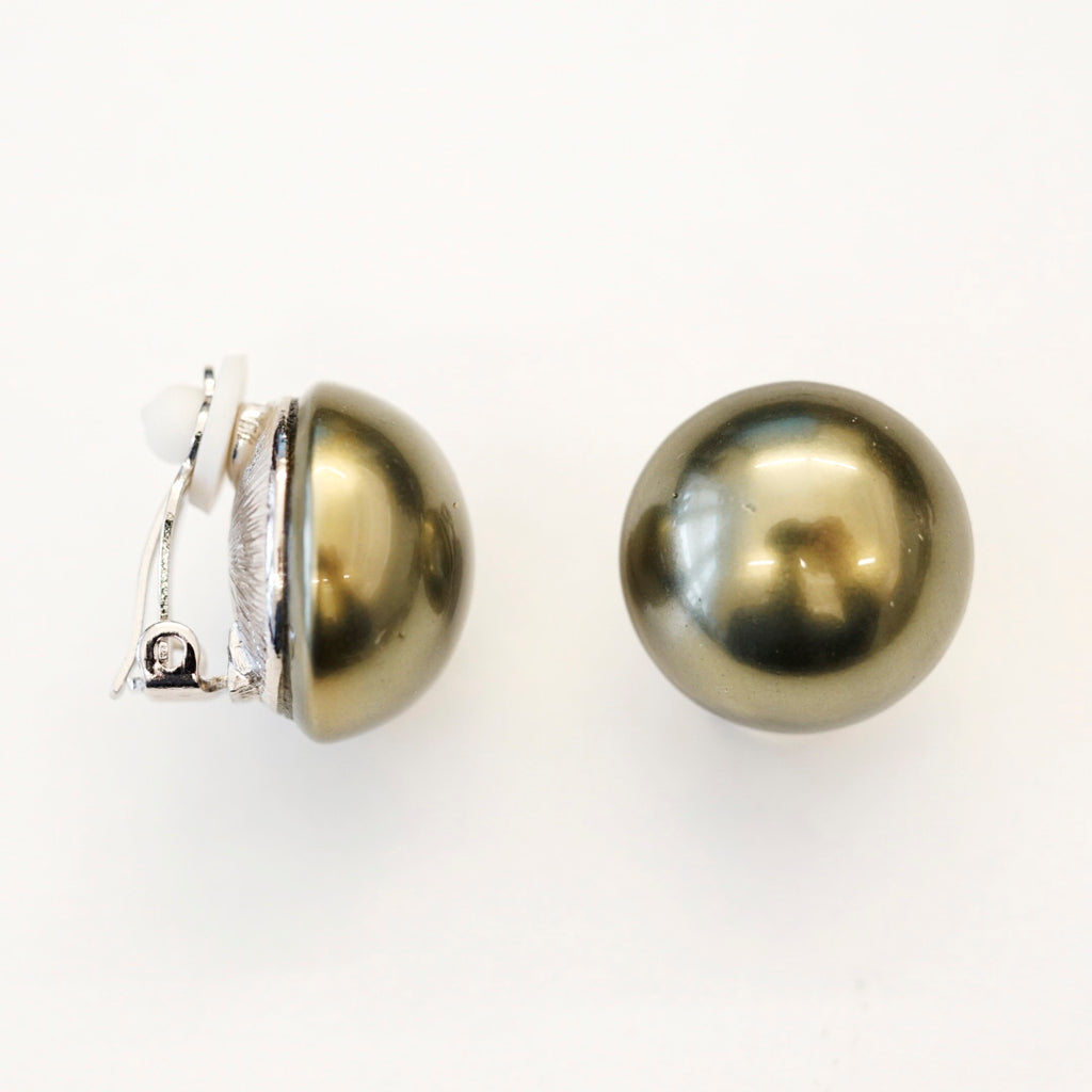 Silvertone 18mm Green Pearl Button Clip Earrings