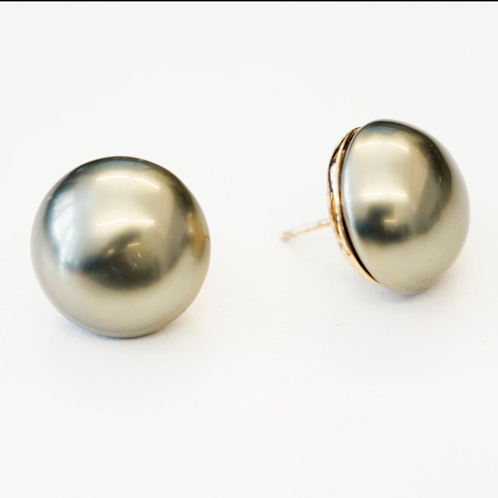 Goldtone 18mm Green Pearl Button Pierced Earrings