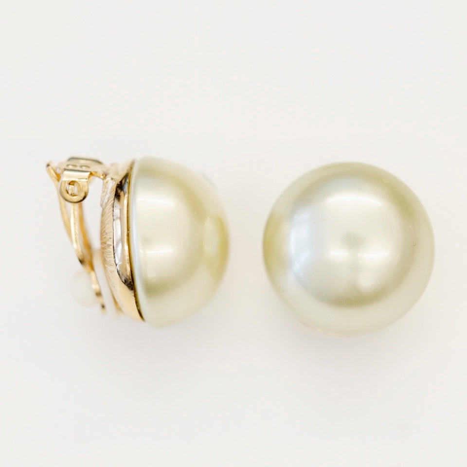 Goldtone 18mm Light Green Pearl Button Clip Earrings