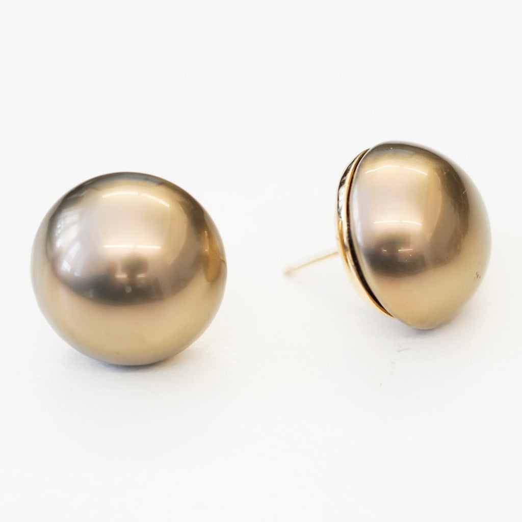 Goldtone 18mm Brown Pearl Button Pierced Earrings