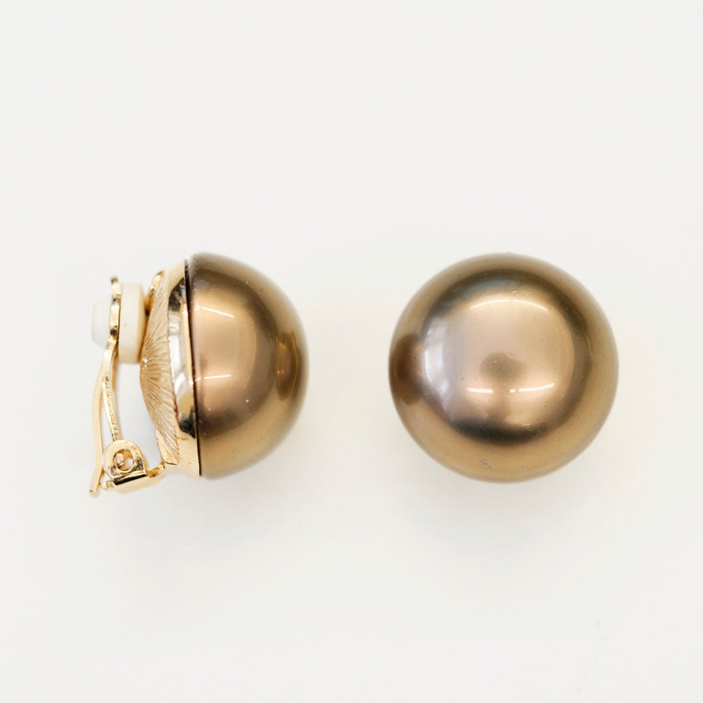 Goldtone 16mm Brown Button Pearl Clip Earrings