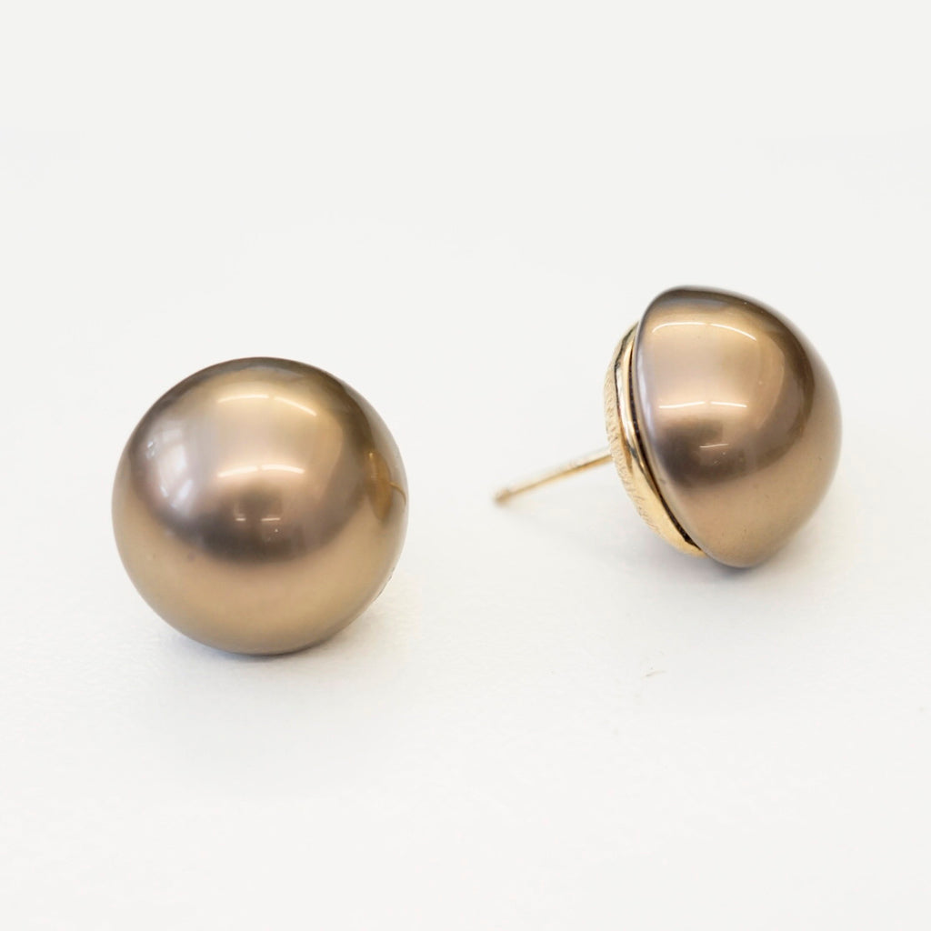 Goldtone 16mm Brown Button Pearl Pierced Earrings