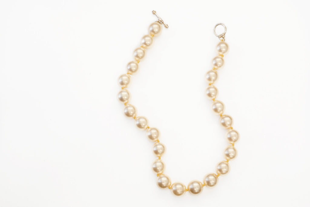 "16"" 14mm Apricot Pearl Necklace"