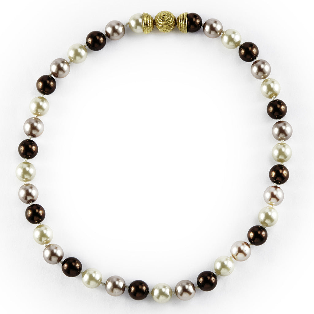 Gold Tone Brown Mix 10MM Pearls Necklace 16""