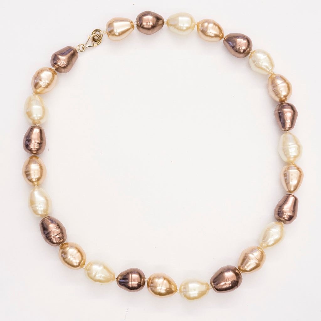 Brown Mix Baroque Pearl Necklace 14mm