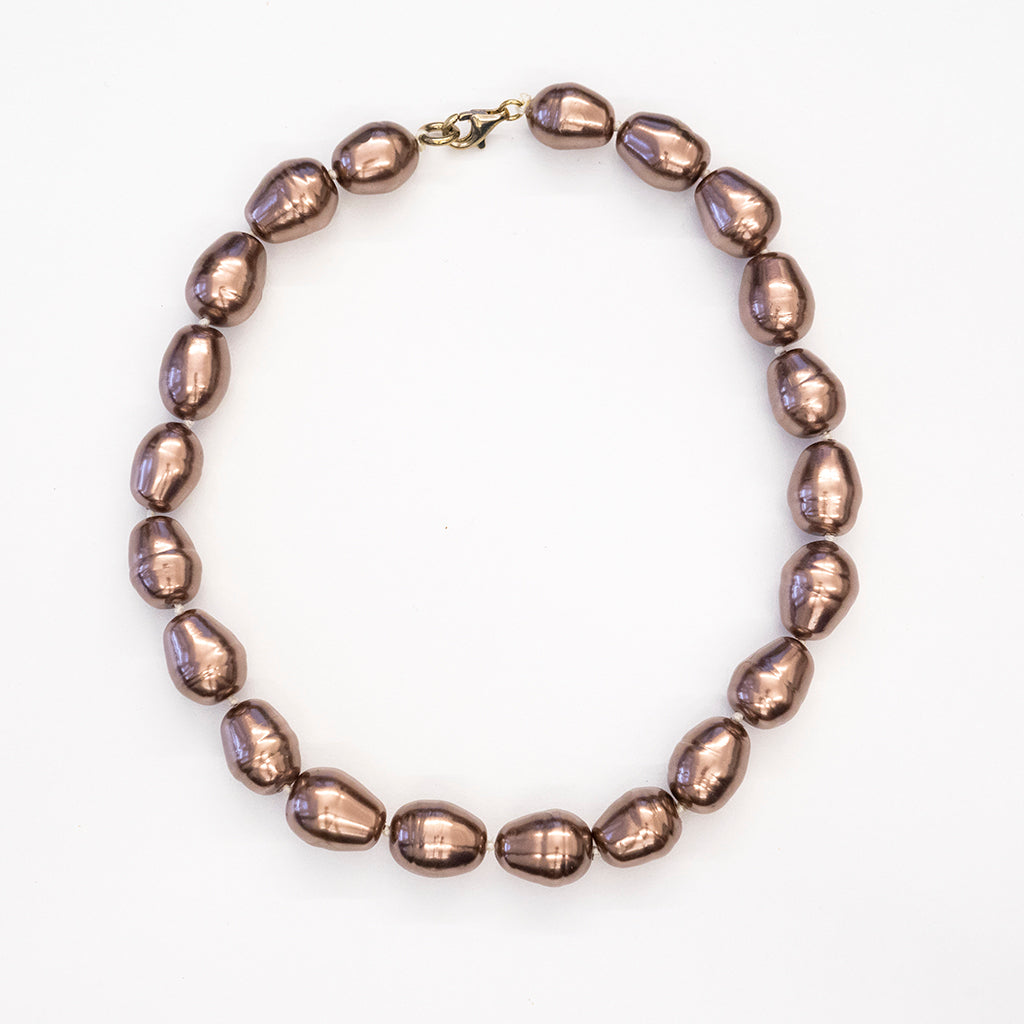 Brown Baroque Pearl Necklace 14mm