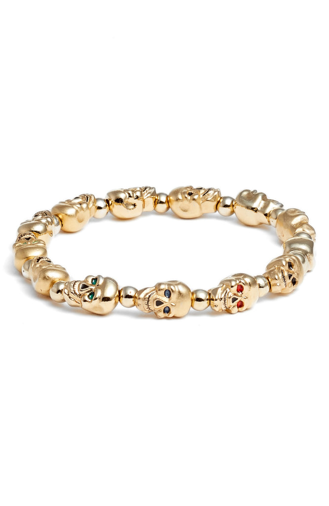 Lucky Skulls Goldtone Stretch Bracelet