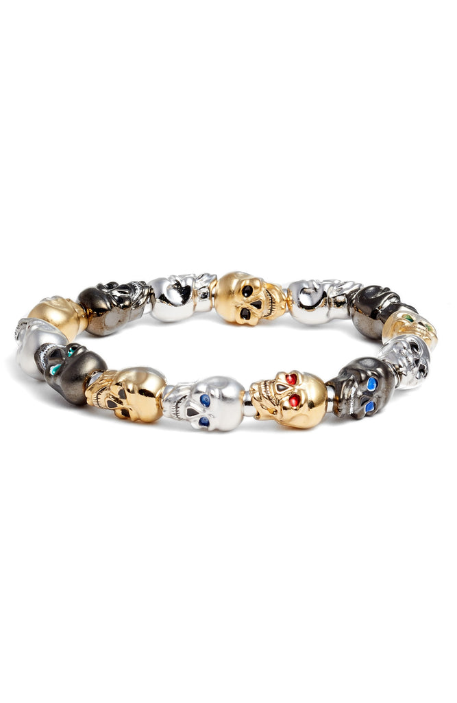 Multi-Color Lucky Skull Stretch Bracelet