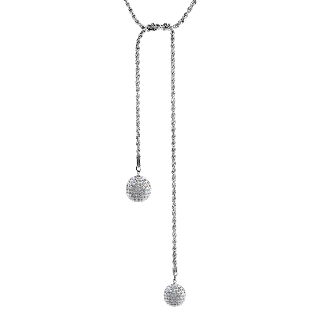 Sterling Silver Crystal Ball Rope Chain Necklace 34""
