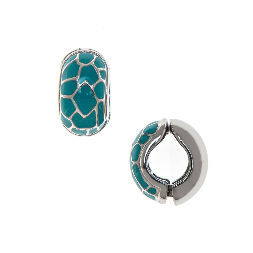 Silvertone Turquoise Cobble Reversible Hugs® Clip Earrings