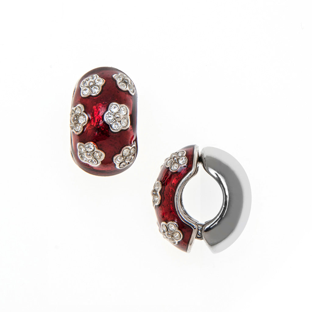 Silvertone/ Red Crystal Flowers Reversible Hugs® Clip Earrings