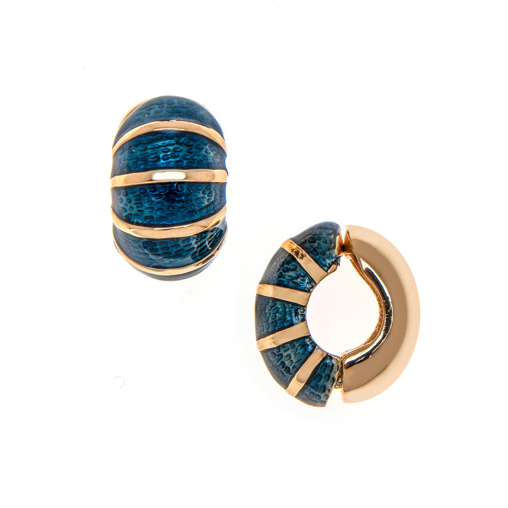 Navy Segmented Reversible Hugs® Clip Earrings
