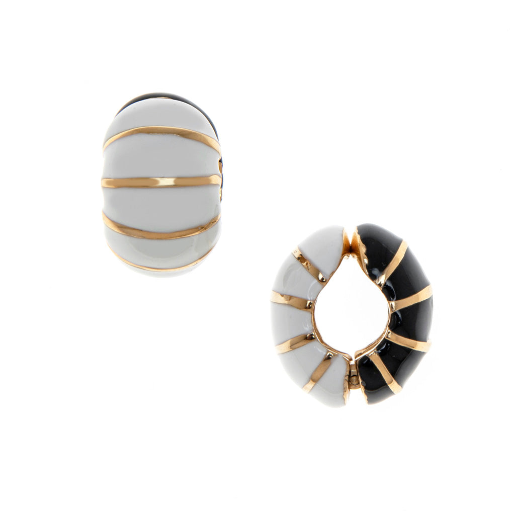 Black/White Segmented Reversible Hugs® Clip Earrings