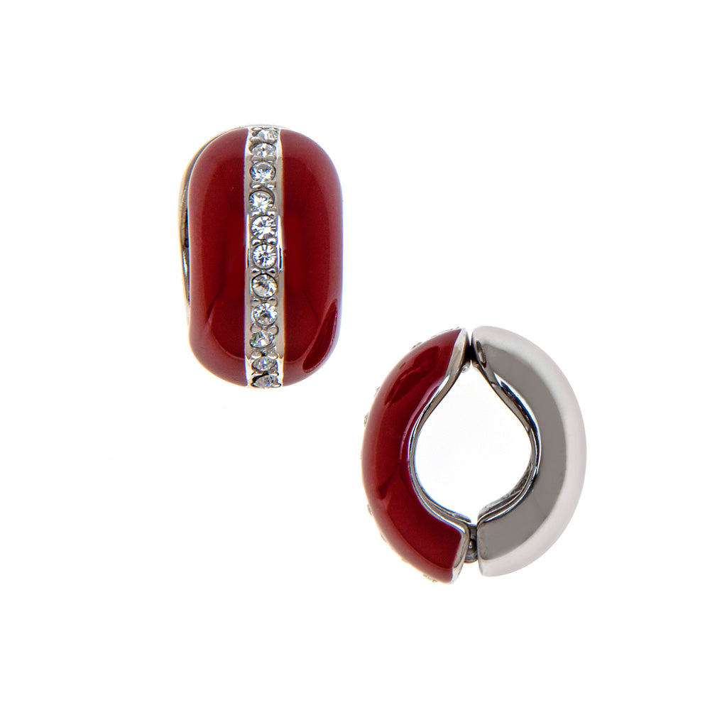 Silvertone Red With Crystals Reversible Hugs® Clip Earrings