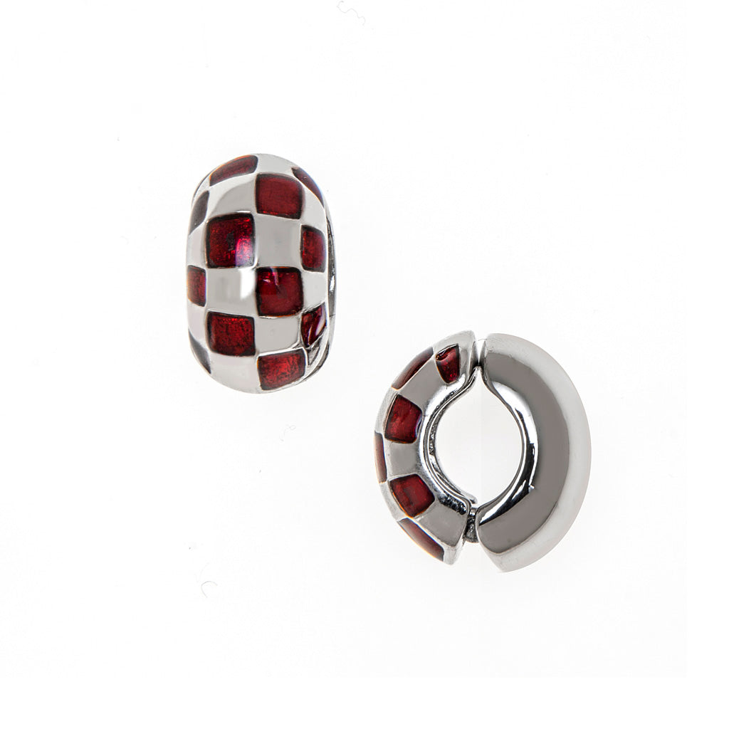 Silvertone Garnet Checkered Reversible Hugs® Clip Earrings