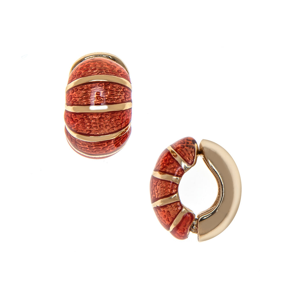 Coral Segmented Reversible Hugs® Clip Earrings