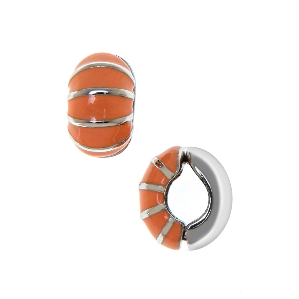 Silvertone Coral Segmented Reversible Hugs® Clip Earrings
