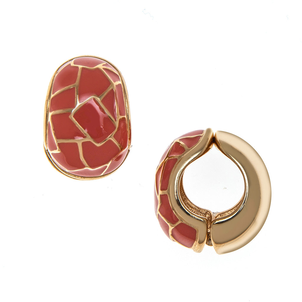 Gold tone/Coral Cobble Reversible Hugs® Clip Earrings