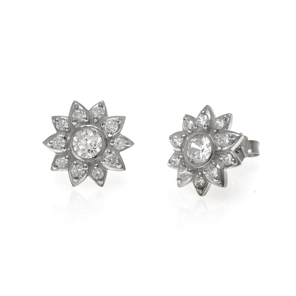 1.2 Carat Cubic Zirconia Button Earrings