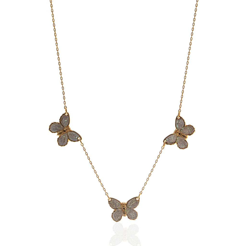 "22k Gold Plated Triple White Butterfly Necklace with 18"" Chain"