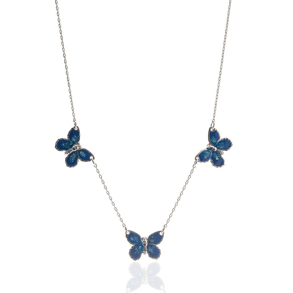 "Rhodium Plated Triple Blue Butterfly Necklace with 18"" Chain"