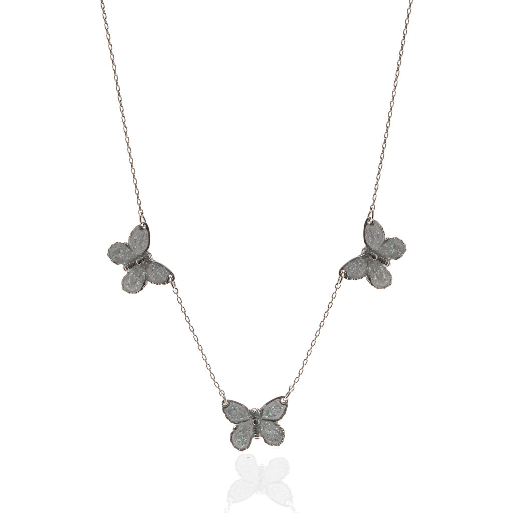 "Rhodium Plated Triple White Butterfly Necklace with 18"" Chain"