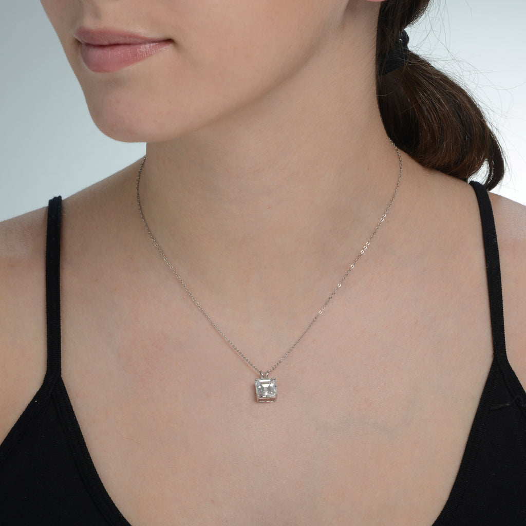 14K White Gold Asscher Cut Pendant on 14K Chain