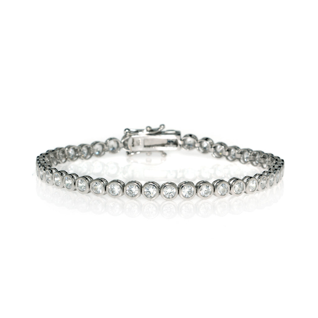 14K CZ  White Gold Bezel Set Tennis Bracelet