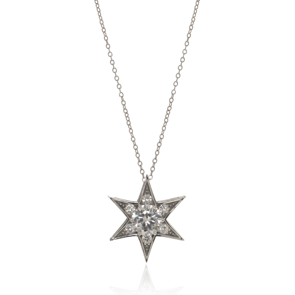 14K White Gold Star Pendant on 14K  Chain