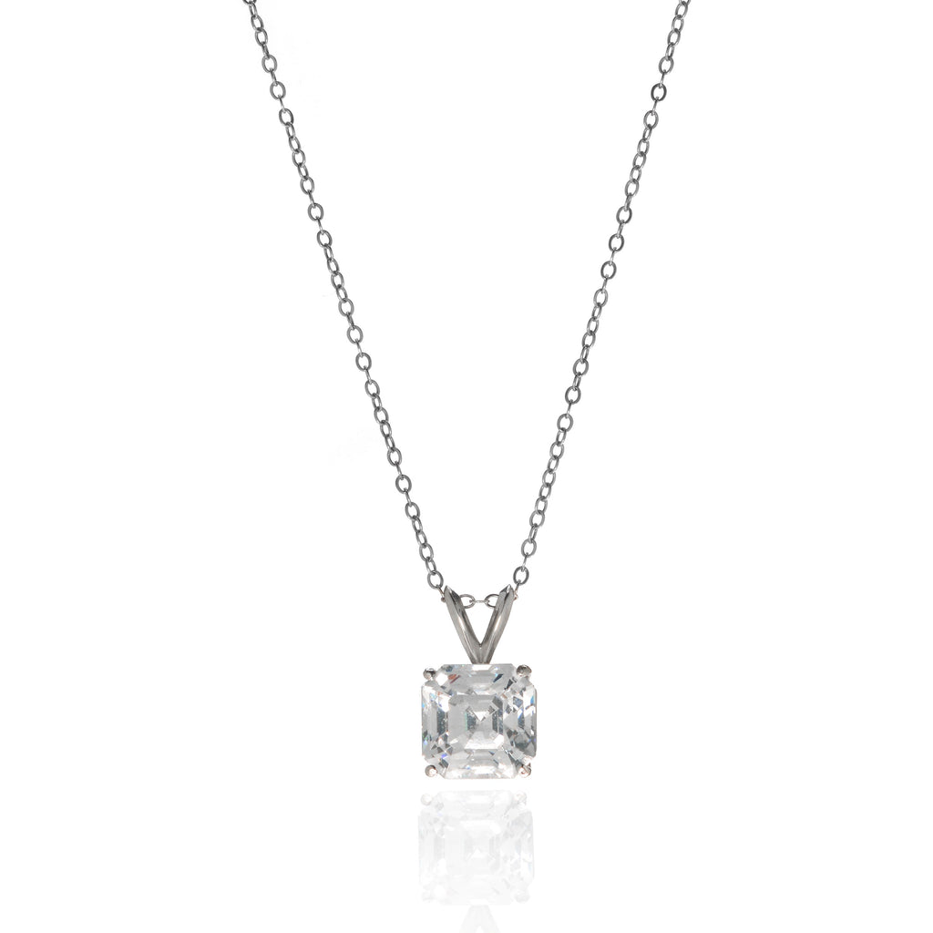 14K White Gold Asscher Cut Pendant on White Gold Chain