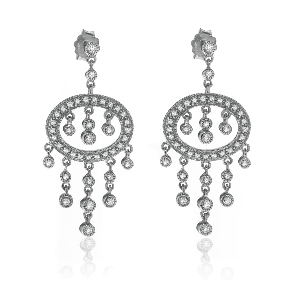 14K White Gold Drop Earring