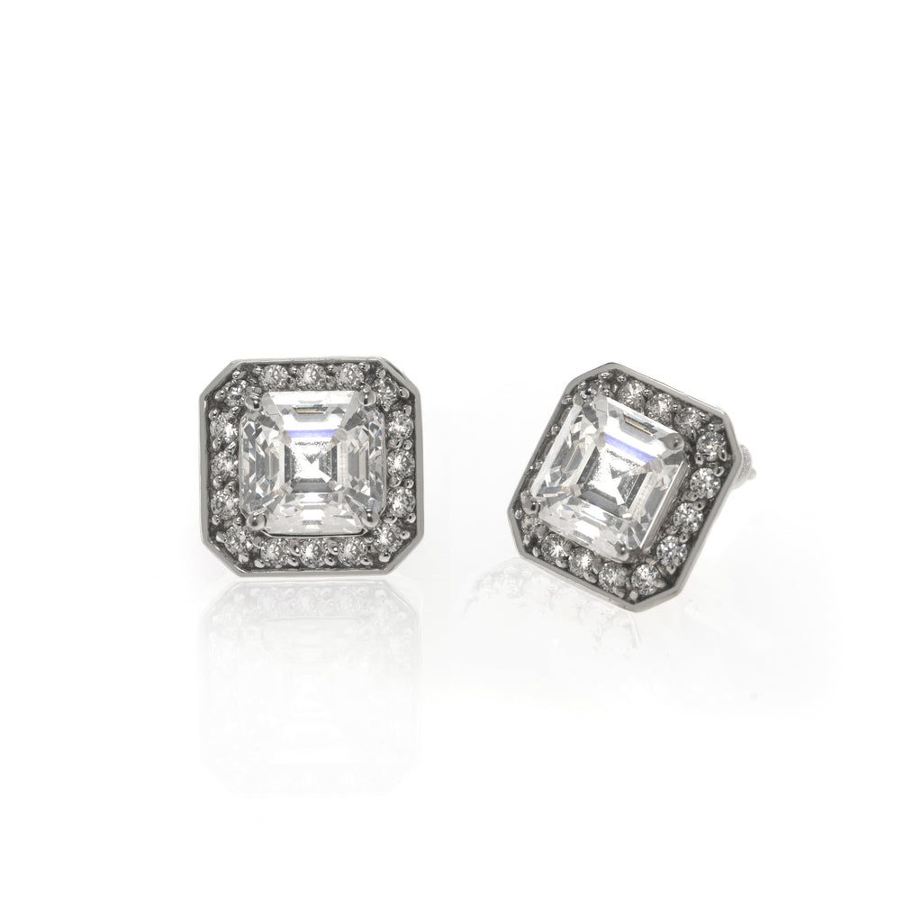 14K White Gold Asscher Cut & Pave Stud Earrings