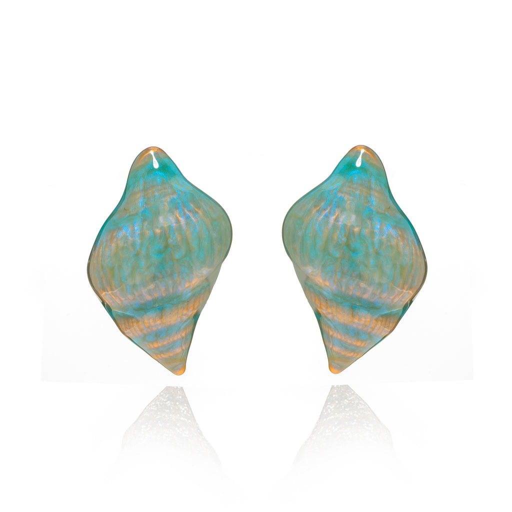 Gold Ocean Blue Shell Earring