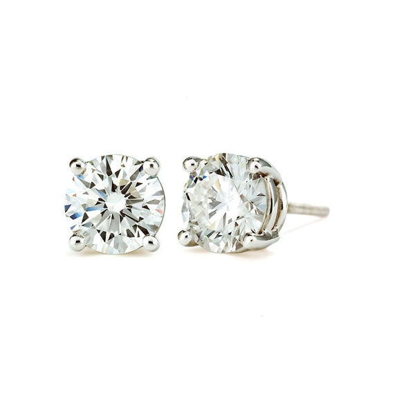 14 KT White Gold Round Cut Stud Earrings