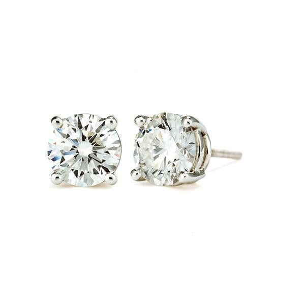 2 CT 14K White Gold Round Cut Stud Earring