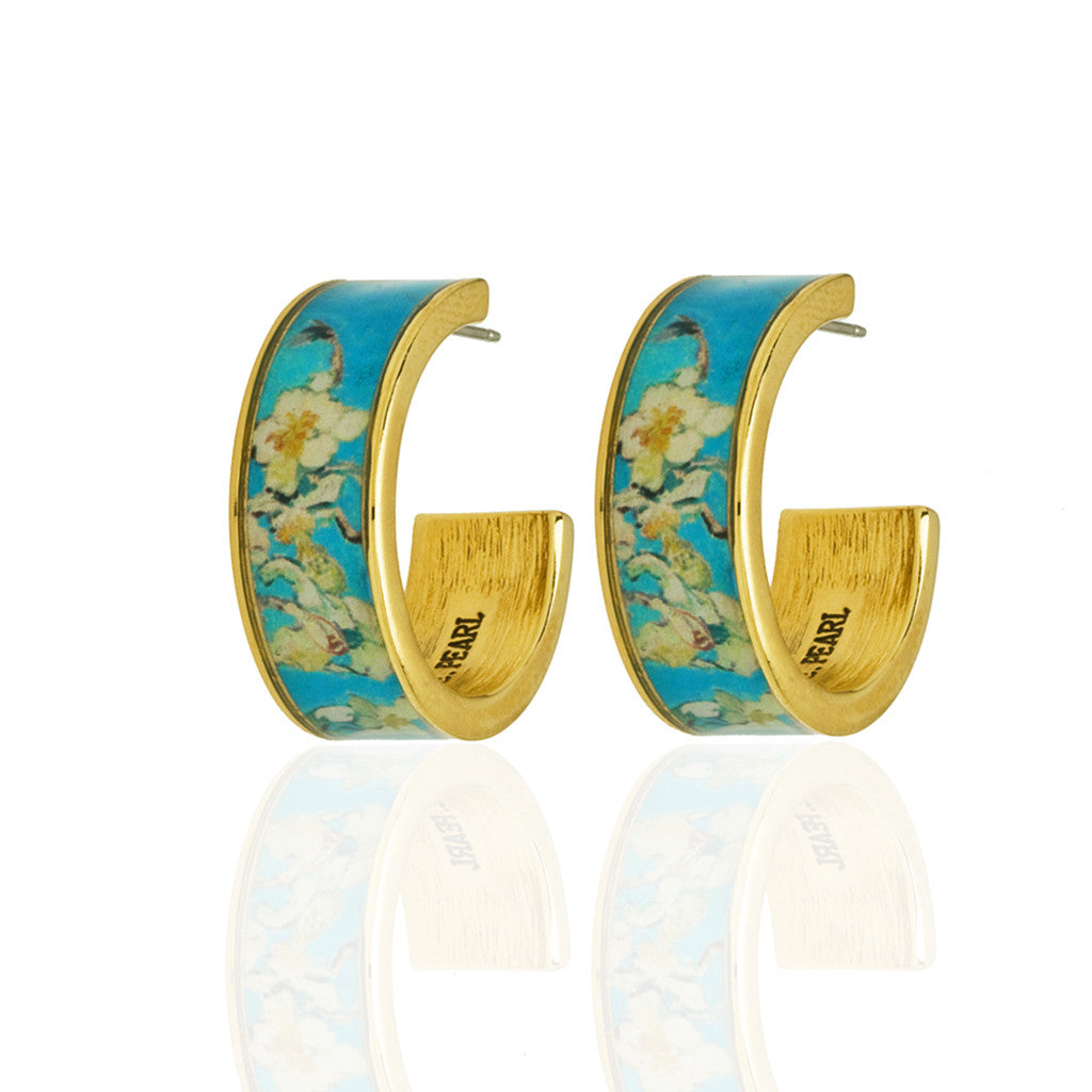Van Gogh Almond Blossoms Hoop Earrings