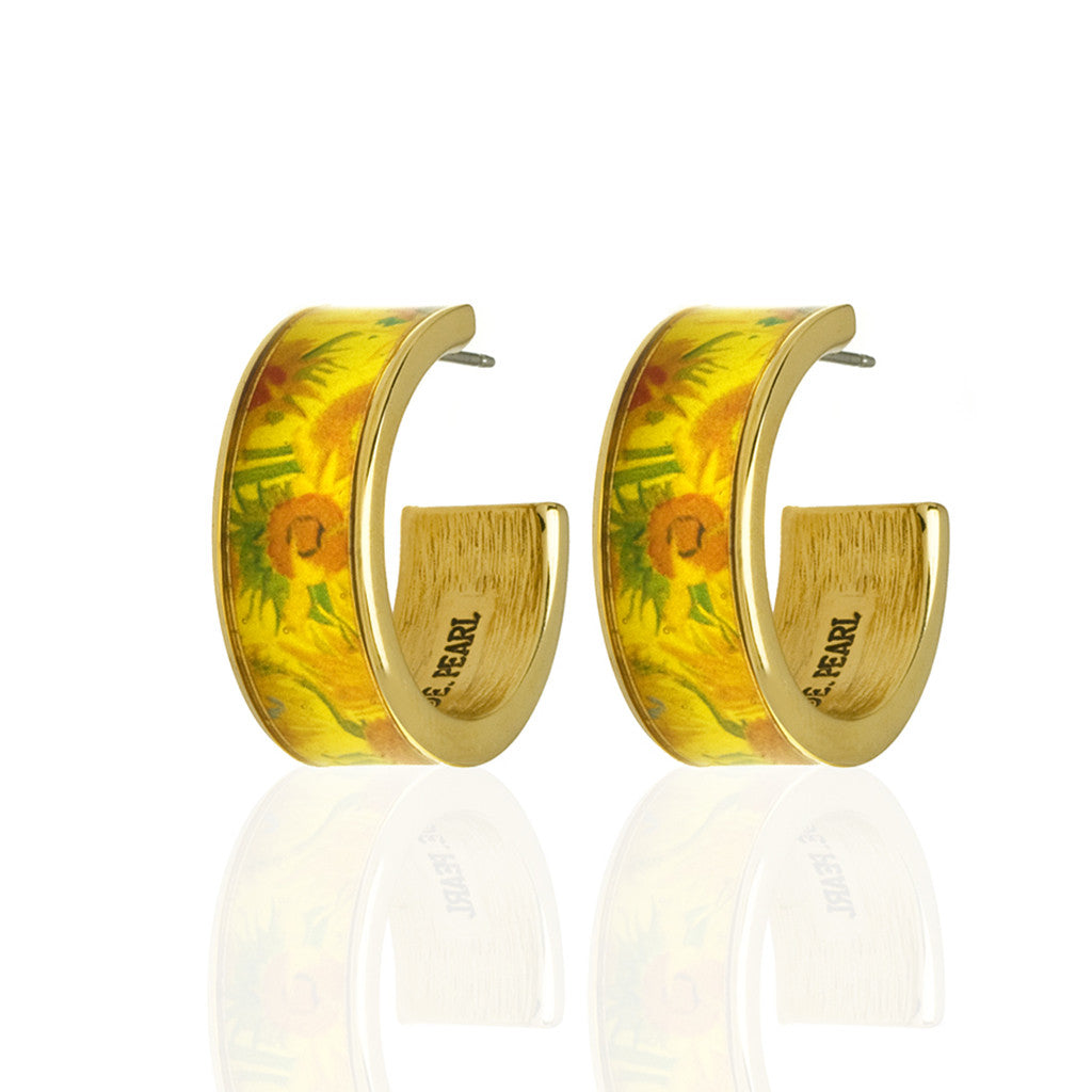 Van Gogh Sun Flowers Hoop Earrings