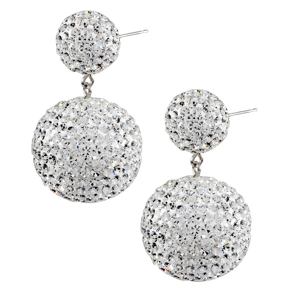 6d496a075a56f Sterling Silver Crystal Ball Drop Earrings