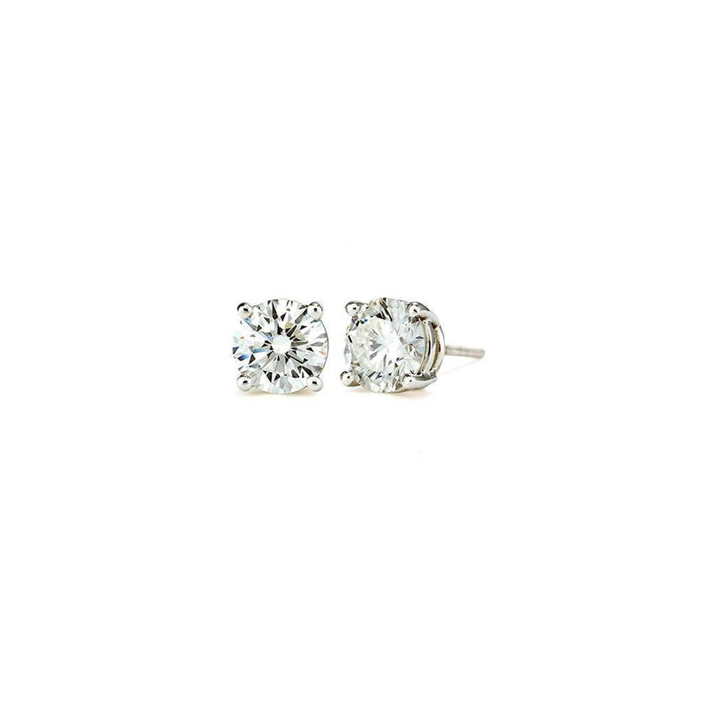 1.5 CT 14K White Gold Round Cut Stud Earring