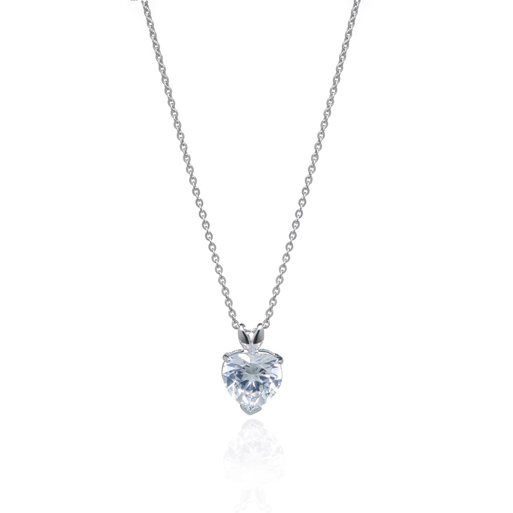 7.5 Carat Cubic Zirconia Heart Set In Sterling Silver