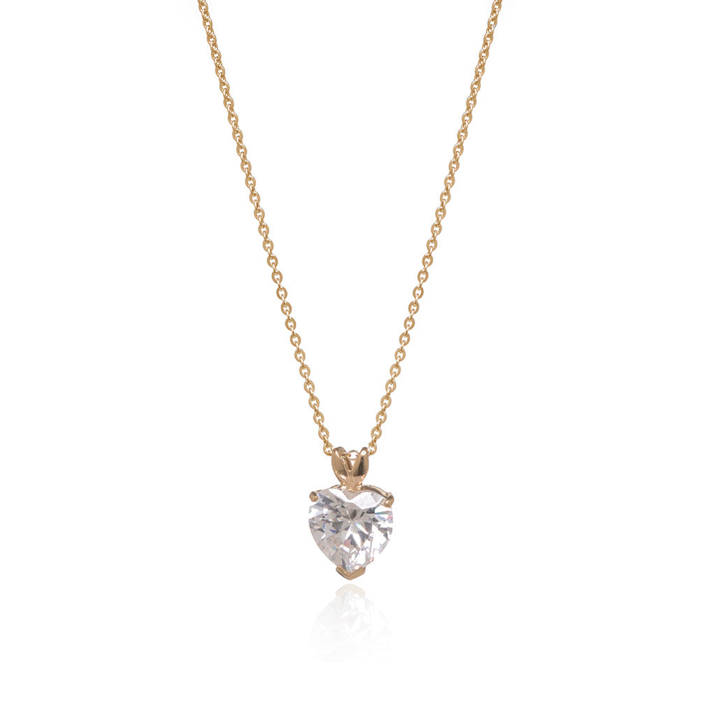 7.5 Carat Cubic Zirconia Heart Set In 22k Gold Plated Sterling Silver