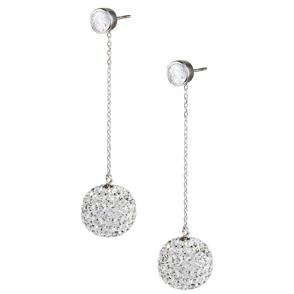 Sterling Silver Crystal Ball Drop Earrings
