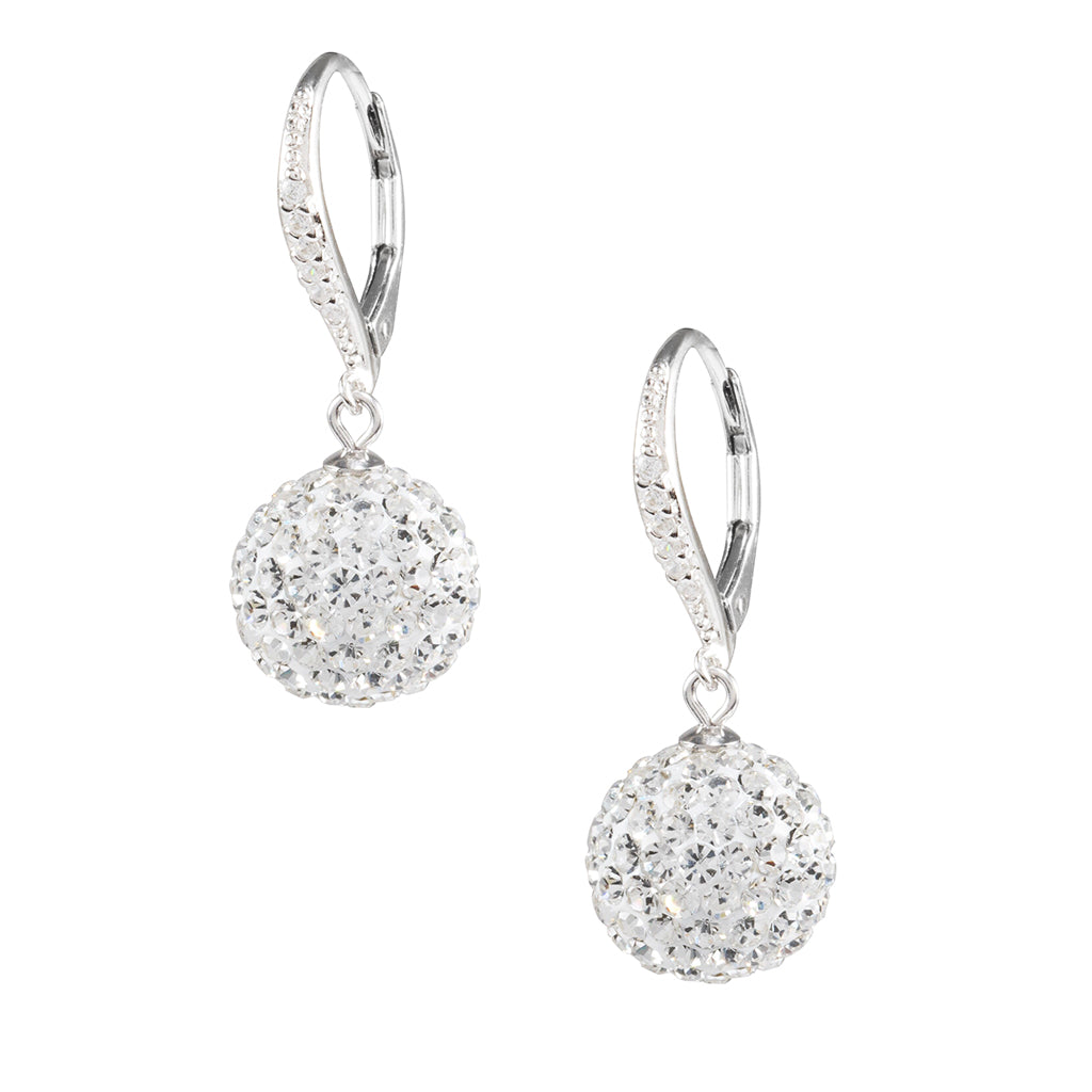 Sterling Silver 12MM Crystal Ball Drop Earrings