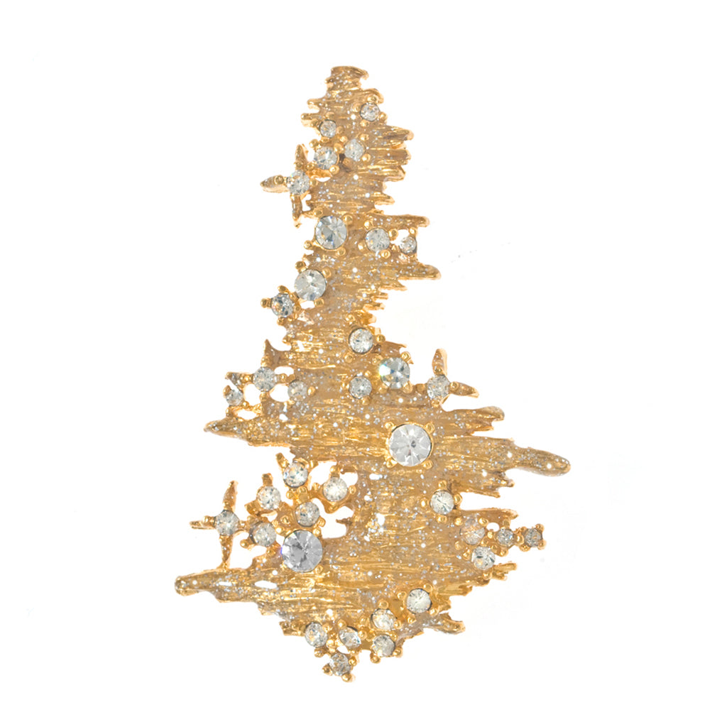 Goldtone Stardust Christmass Tree Pin