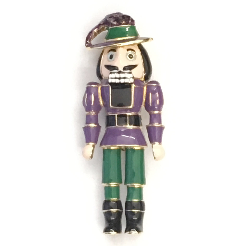 Goldtone and Purple Woodsman Pin