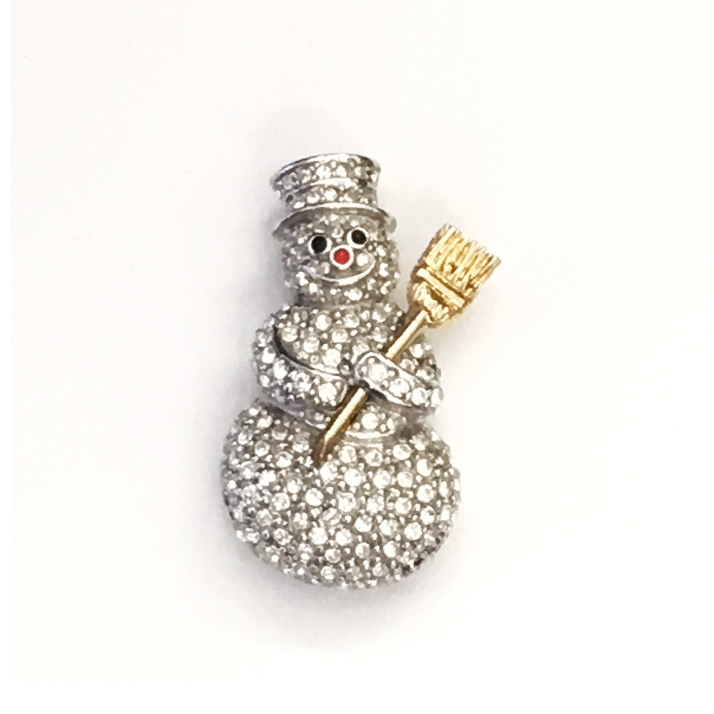 Snowman Pin With Austrian Crystals