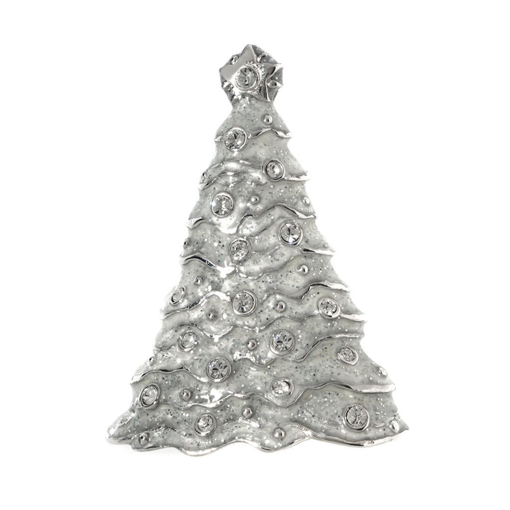 Silvertone Stardust White Christmas Tree Pin