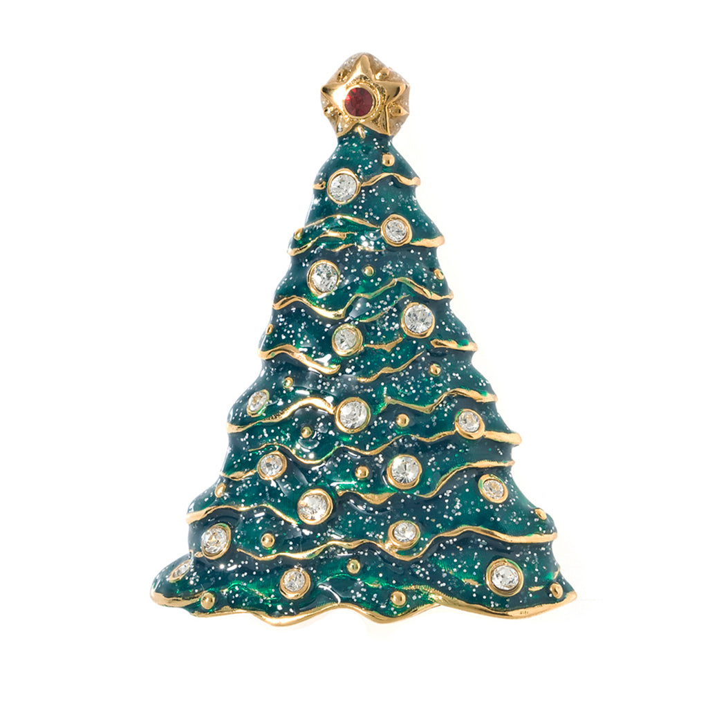 Gold Tone Peridot Enamel Tree Pin