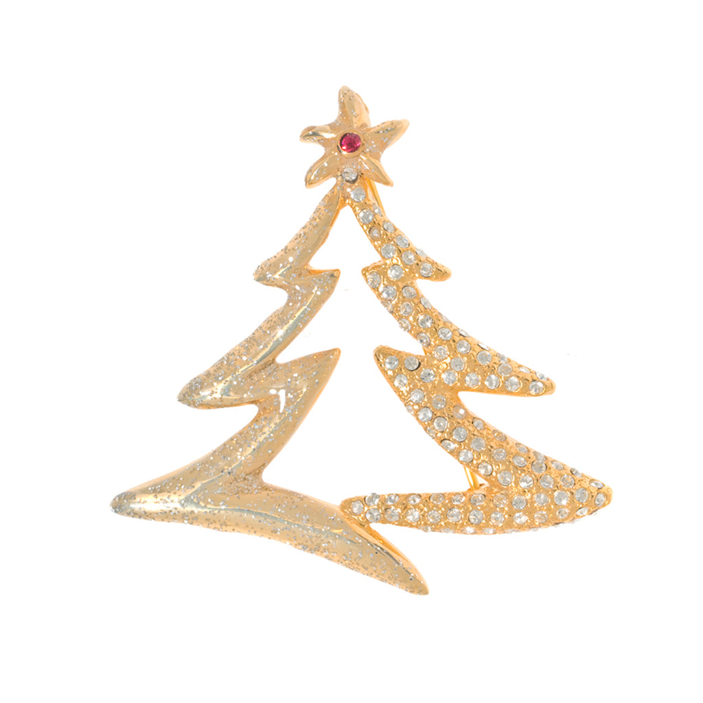 Gold Tone Austrian Crystals Tree Pin